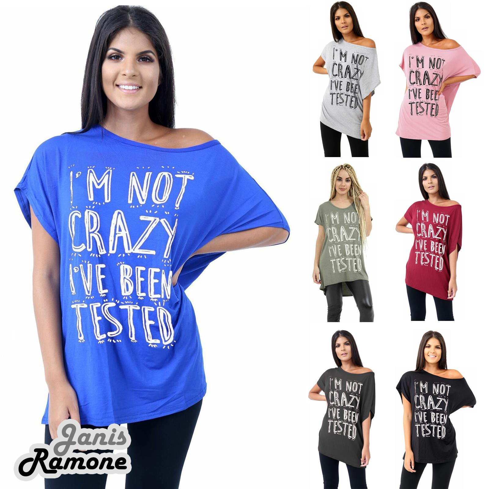 Ladies Slogan Printed Off Shoulder Batwing Sleeve Bardot Oversized T-Shirt Top
