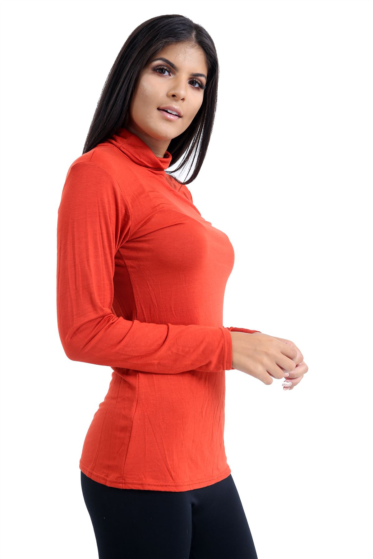 New-Ladies-Long-Sleeve-Plain-Turtle-Polo-Roll-Neck-Stretch-Jumper-T-Shirt-TeeTop thumbnail 91