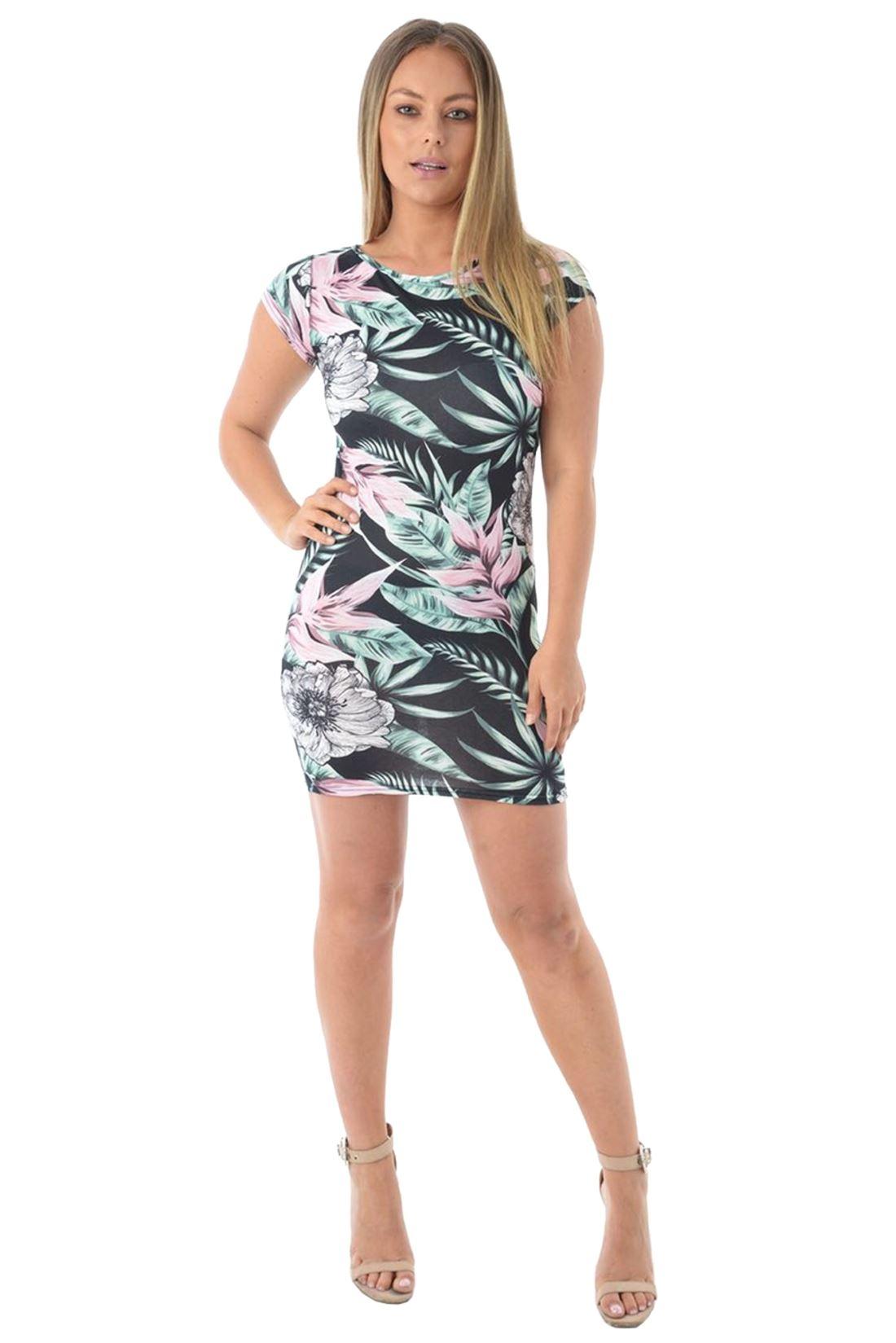 New-Ladies-Cap-Sleeve-Leaf-Floral-Print-Bodycon-Stretch-Summer-Mini-Tunic-Dress