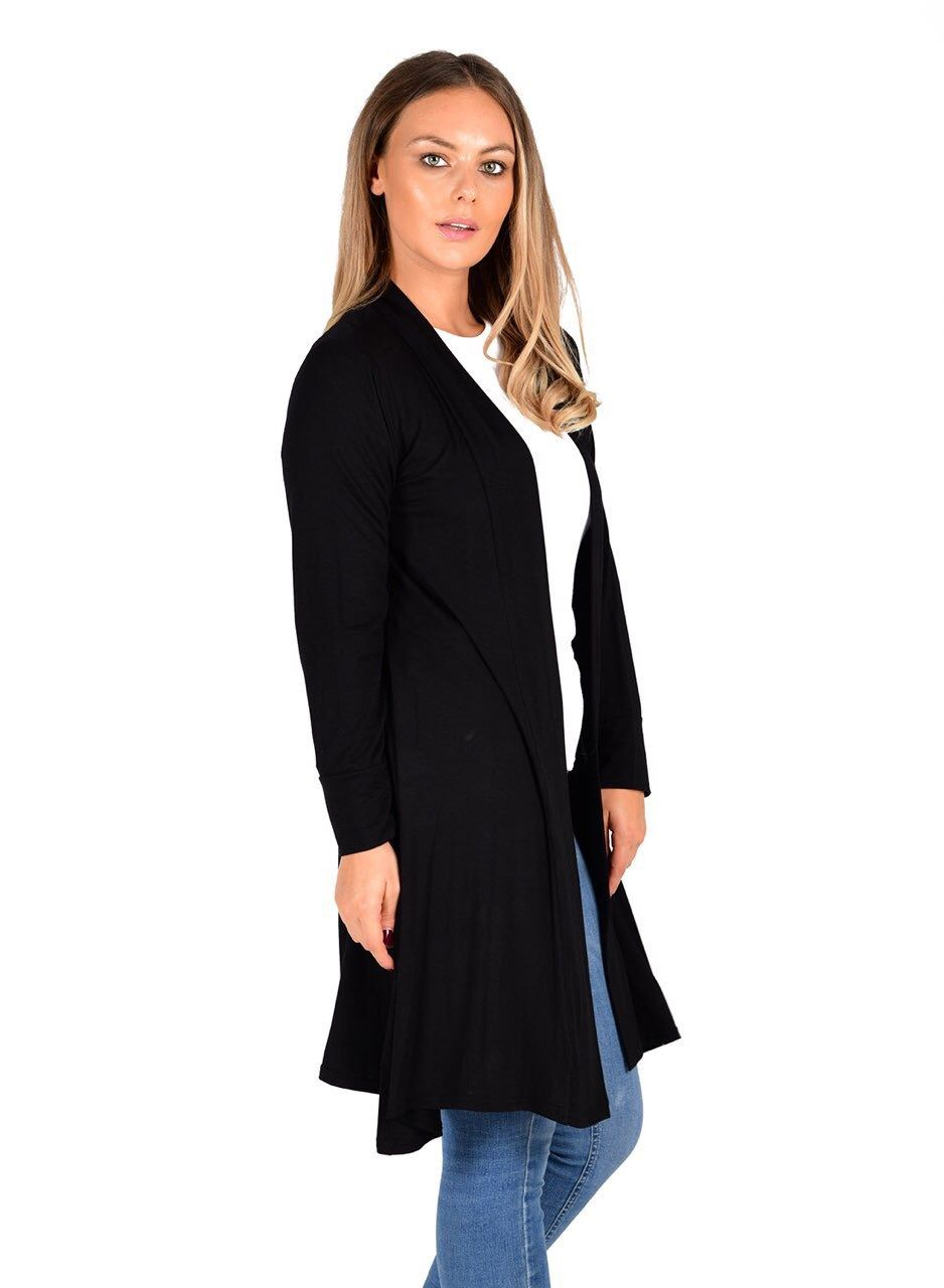 New-Womens-Open-Front-Knee-Length-Plain-Cardigan-Long-Sleeve-Party-Casual-Top miniatura 3