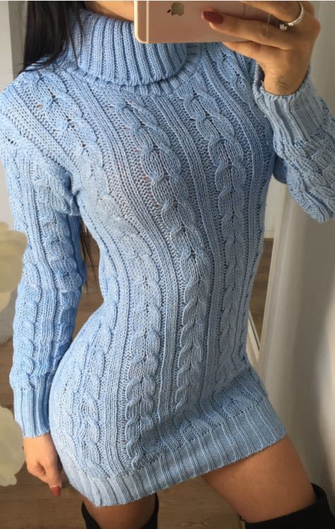 New-Ladies-Cowl-Polo-Neck-Cable-Knitted-Jumper-Pull-Bodycon-Tunic-Mini-Dress miniature 25