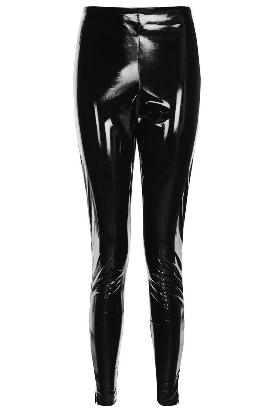 official price 100% authentic the sale of shoes Details about Womens Shiny Wet Look High Waisted Stretchy Vinyl Skinny  Leggings Pants Trouser