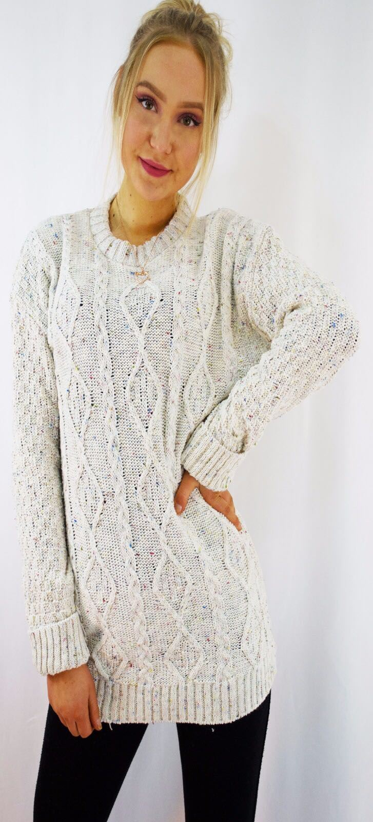 New-Ladies-Long-Manche-Chunky-Cable-Knitted-Jumper-crew-neck-hiver-Sweater-Top miniature 9