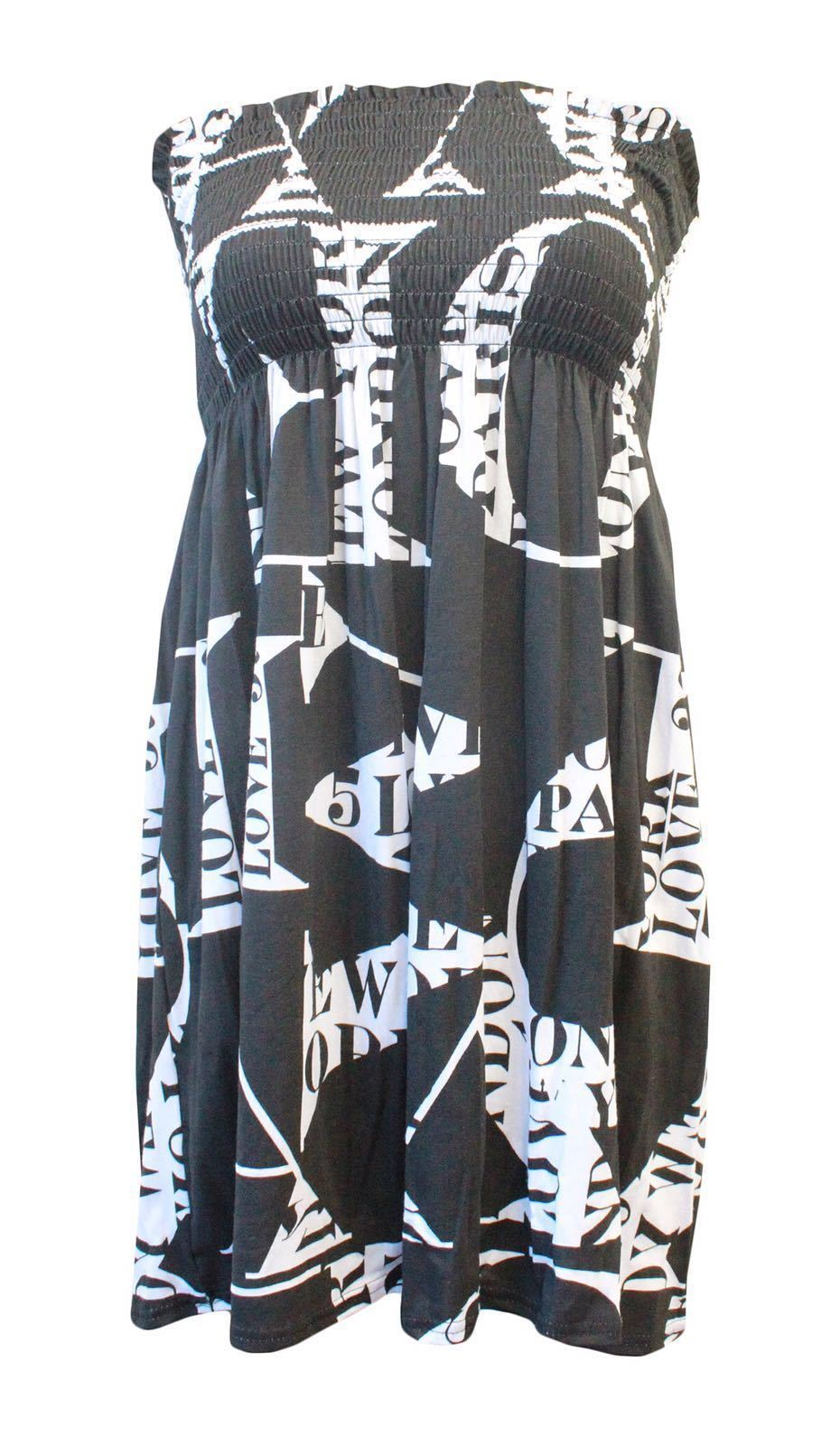 Ladies-Printed-Sheering-Bandeau-Boobtube-Strapless-Flared-Ruched-Mini-Dress-Top