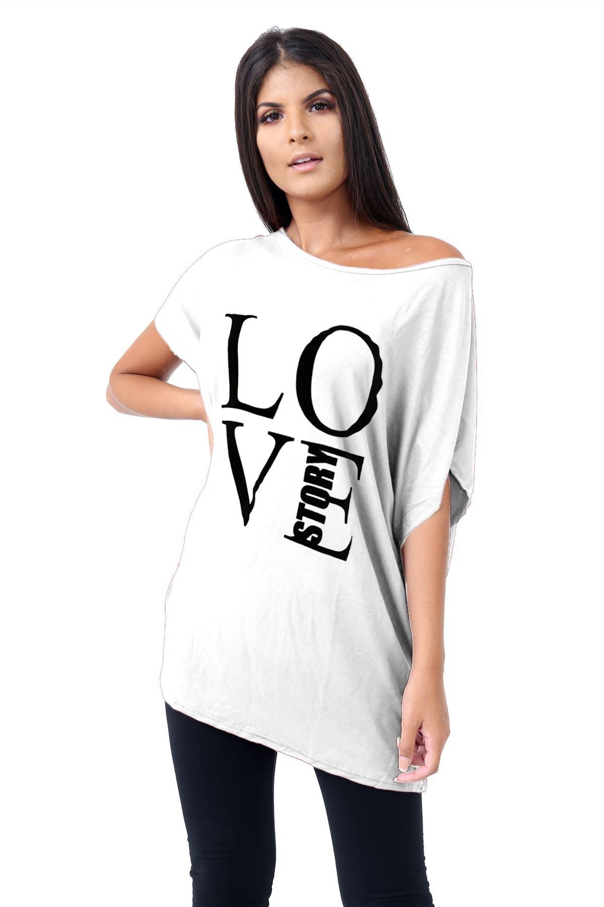 Plus-Size-Womens-Batwing-Sleeve-Printed-Off-Shoulder-Bardot-Oversize-T-Shirt-Top thumbnail 41