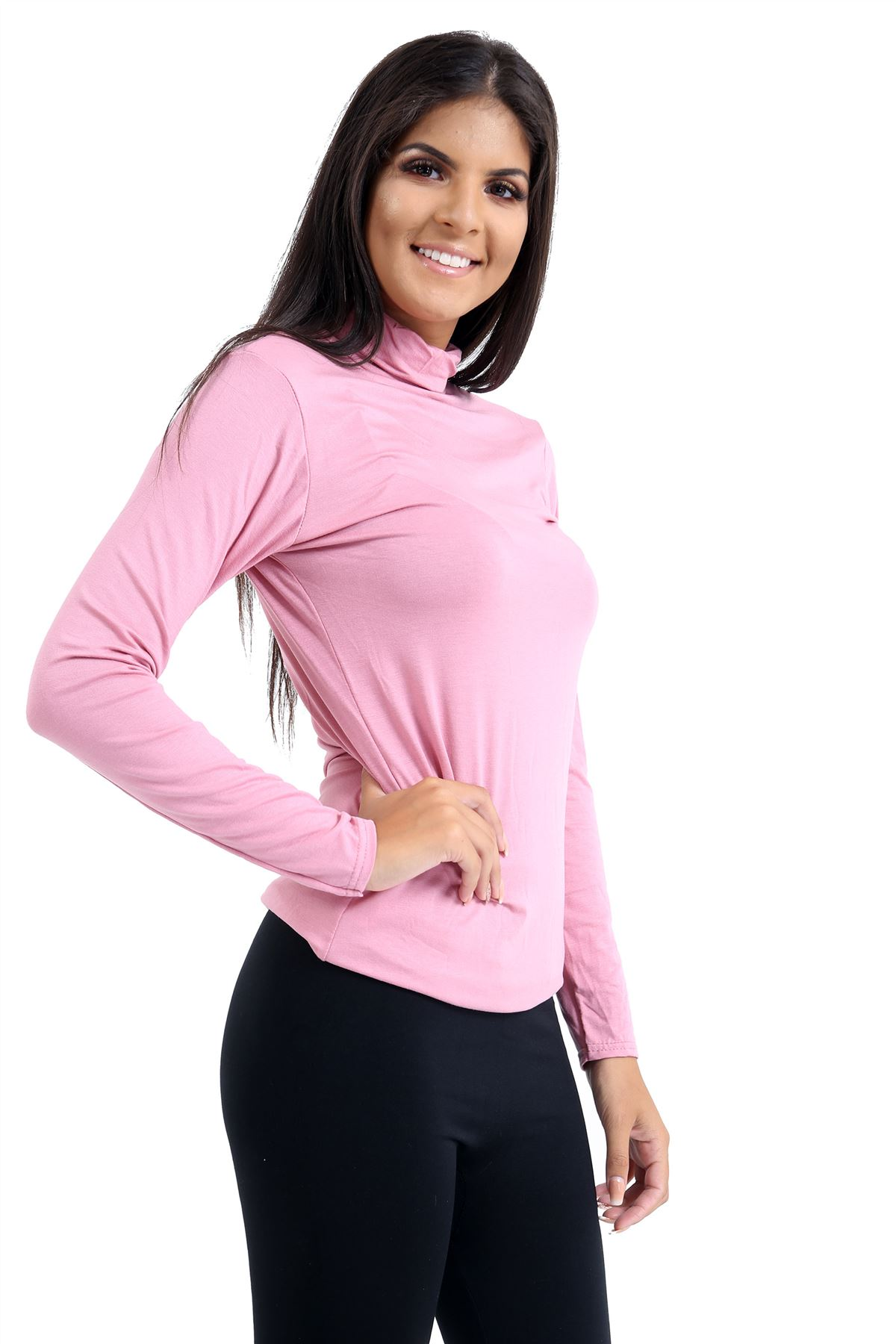 New-Ladies-Long-Sleeve-Plain-Turtle-Polo-Roll-Neck-Stretch-Jumper-T-Shirt-TeeTop thumbnail 95