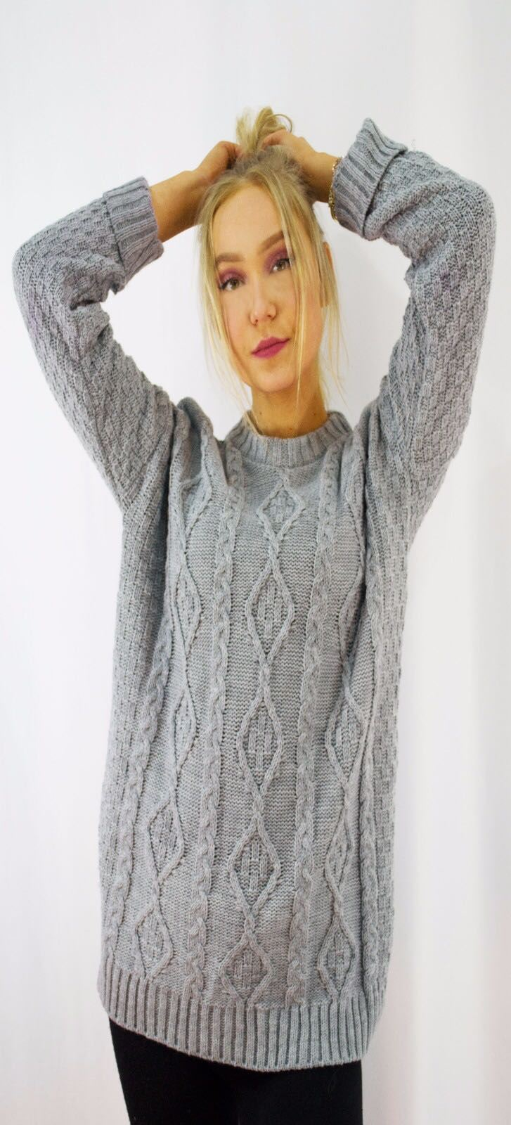 New-Ladies-Long-Manche-Chunky-Cable-Knitted-Jumper-crew-neck-hiver-Sweater-Top miniature 17