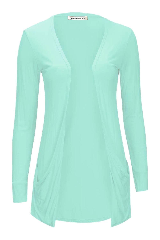 43d9c681a243 New Womens LongSleeve Open Drop Pocket Plain Boyfriend Cardigan ...