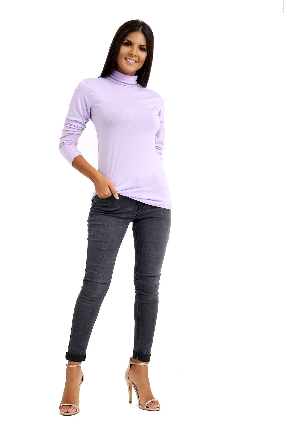 New-Ladies-Long-Sleeve-Plain-Turtle-Polo-Roll-Neck-Stretch-Jumper-T-Shirt-TeeTop thumbnail 58