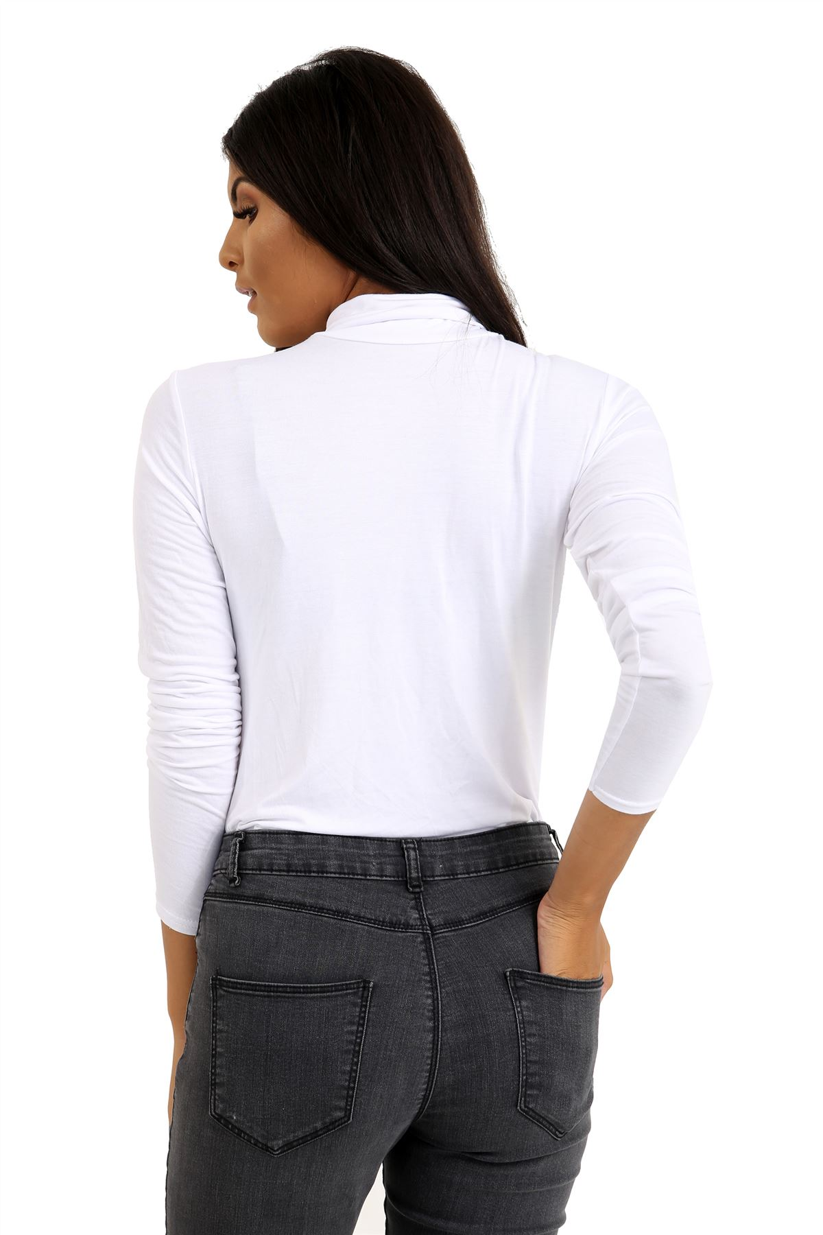 New-Ladies-Long-Sleeve-Plain-Turtle-Polo-Roll-Neck-Stretch-Jumper-T-Shirt-TeeTop thumbnail 29