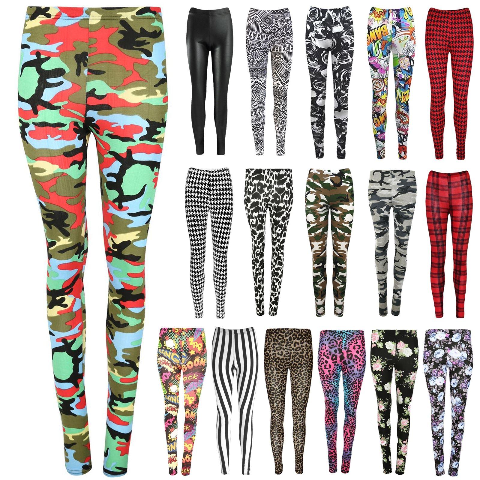 New Ladies Army Grey Printed Full Length Stretchy Skinny Slim Fit Leggings Pants