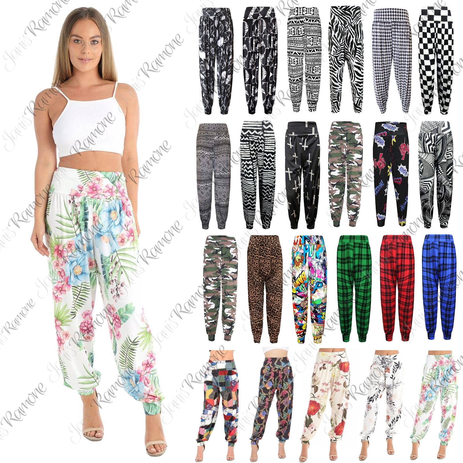 NEW LADIES WOMENS AZTEC PRINT HAREM TROUSERS PANTS ALI BABA PANTS CUFF BOTTOMS
