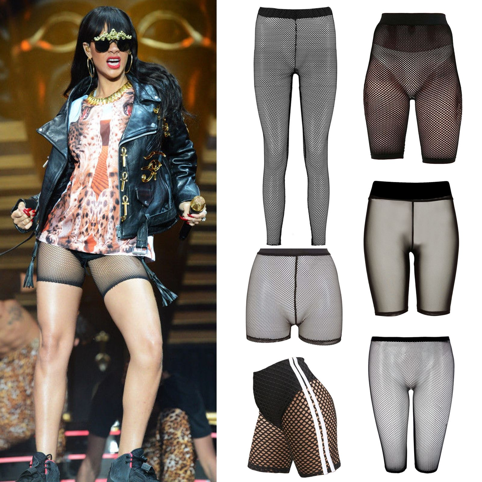 46a81b845d4 Details about New Womens Fishnet Mesh See Through Slim Fit 3 4 Leggings Cycling  Short Hot Pant