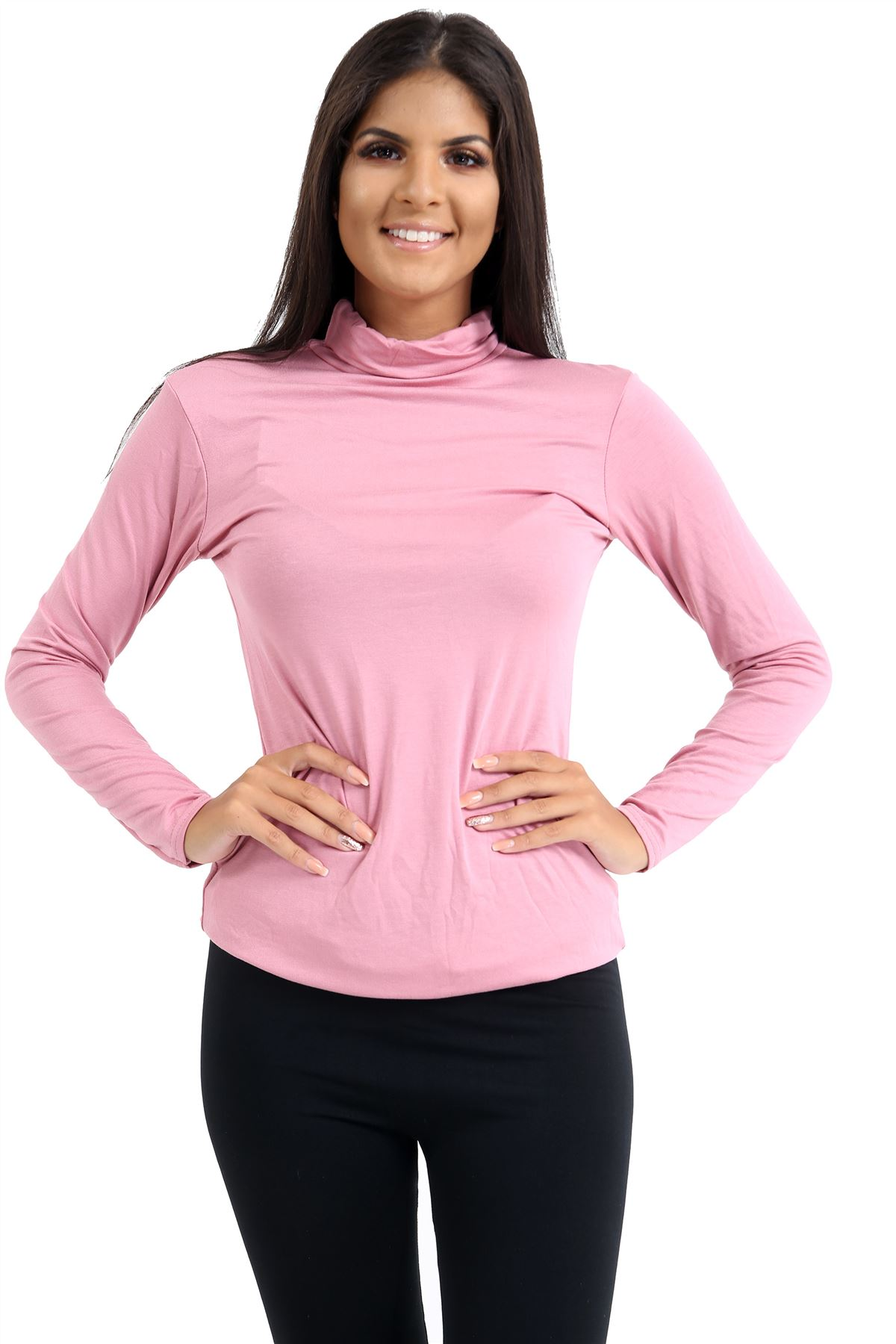 New-Ladies-Long-Sleeve-Plain-Turtle-Polo-Roll-Neck-Stretch-Jumper-T-Shirt-TeeTop thumbnail 97