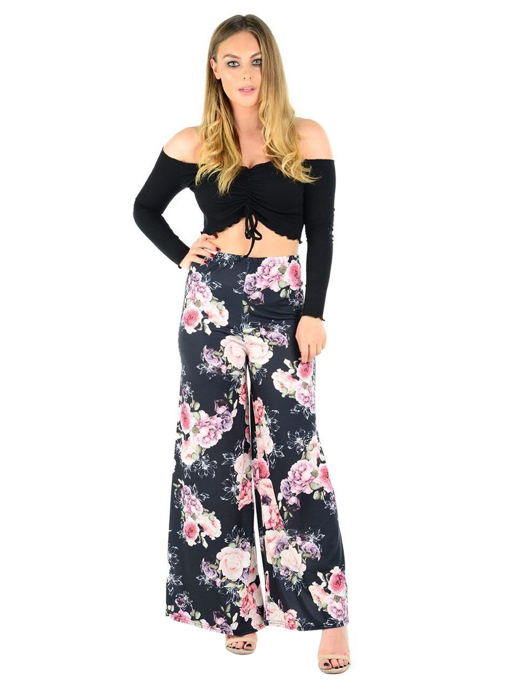 New-Ladies-Floral-Printed-Wide-Leg-Flared-Parallel-Baggy-Trousers-Pants-Palazzo thumbnail 92