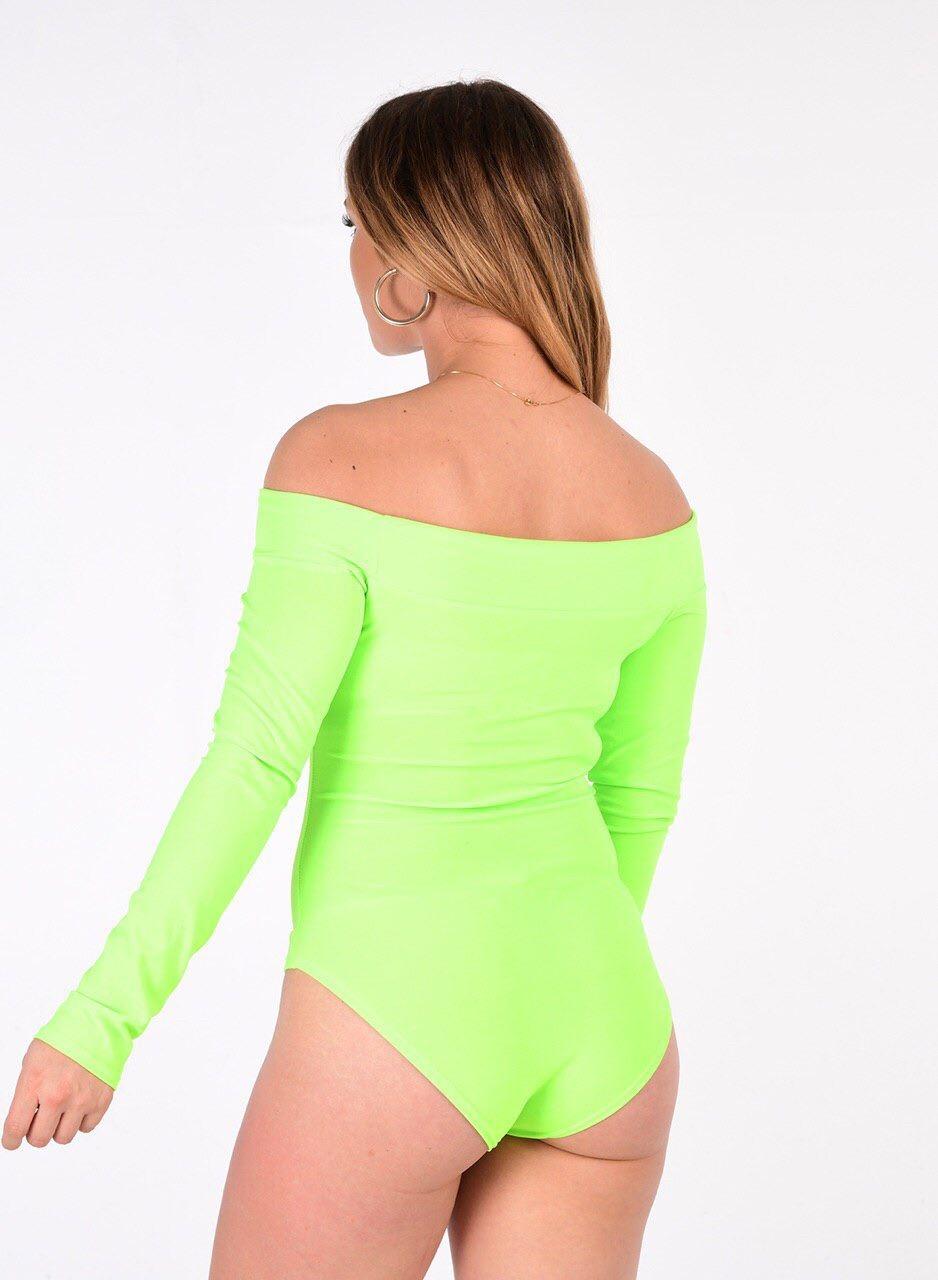 New Womens Longsleeve Off Shoulder Leotard Ladies Plain Printed Bardot Bodysuit