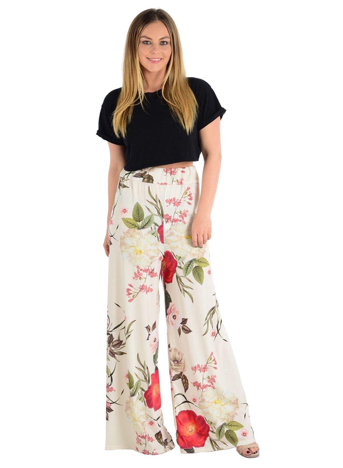 New-Ladies-Floral-Printed-Wide-Leg-Flared-Parallel-Baggy-Trousers-Pants-Palazzo thumbnail 29