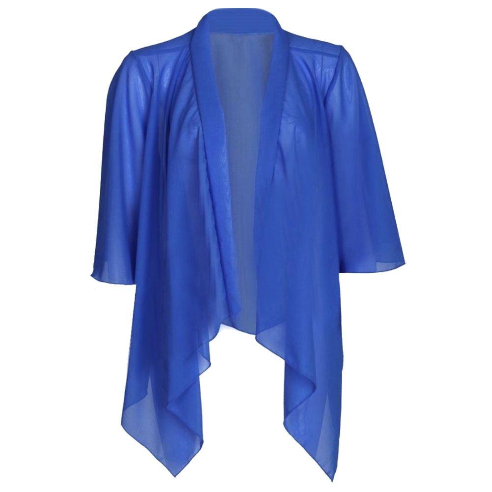 NUOVA linea donna Donna Plain Chiffon Kimono Cardigan Bolero Aperta Cascata Top 8-22