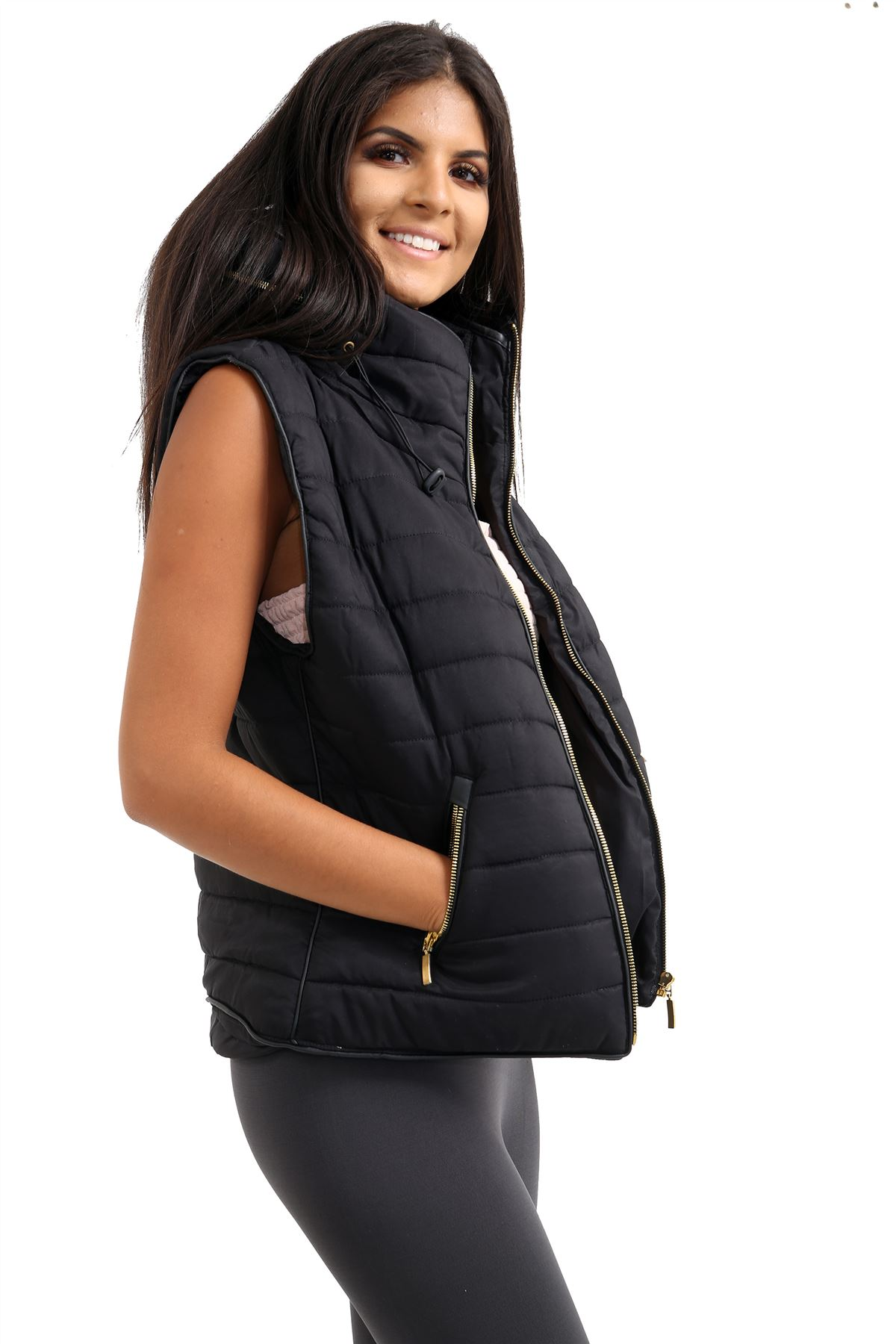Ladies-Gilet-Quilted-Padded-Body-Warmer-Sleeveless-Fur-Collar-Puffer-Jacket-Coat thumbnail 3