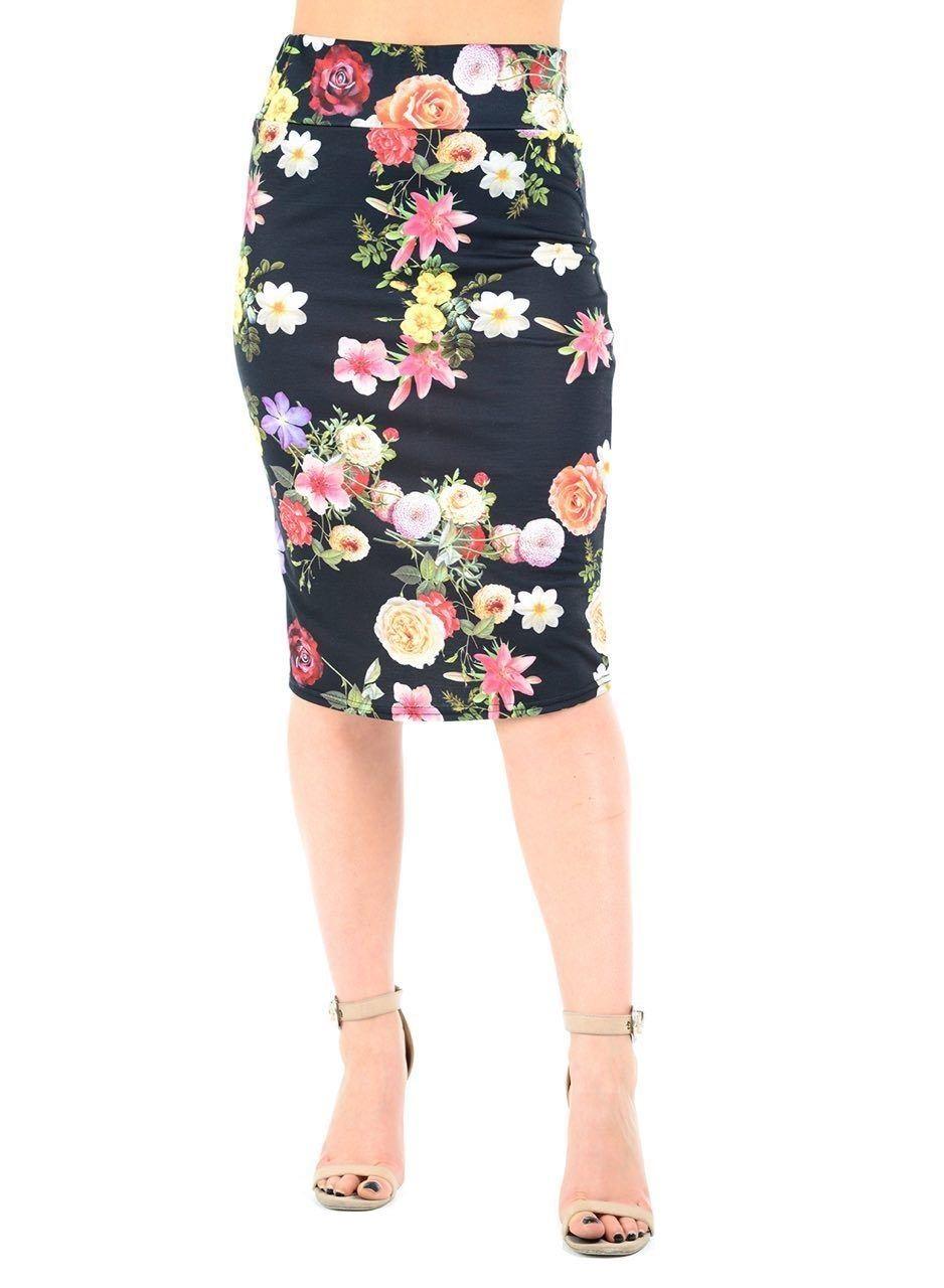 New-Ladies-Floral-Print-High-Waist-Pencil-Bodycon-Tube-Wiggle-Summer-Midi-Skirt