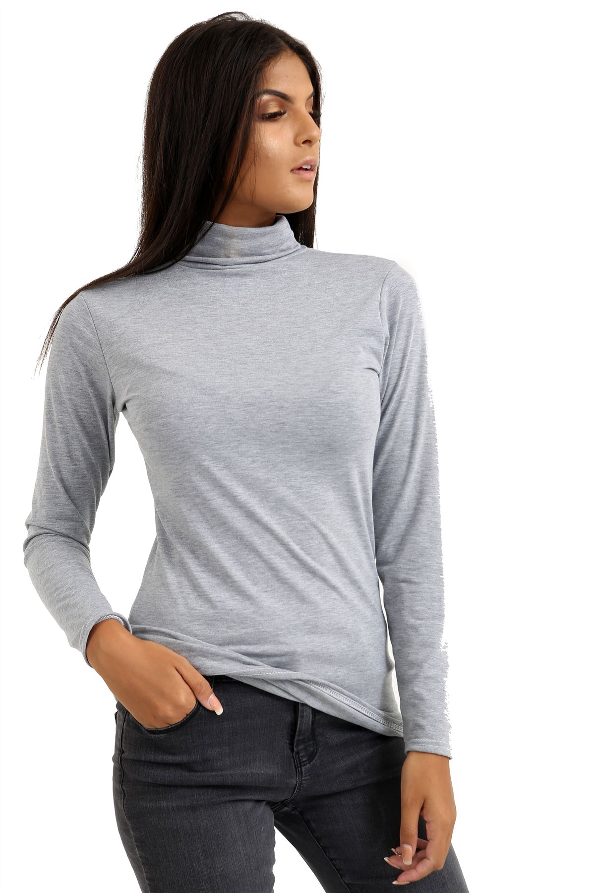 New-Ladies-Long-Sleeve-Plain-Turtle-Polo-Roll-Neck-Stretch-Jumper-T-Shirt-TeeTop thumbnail 50