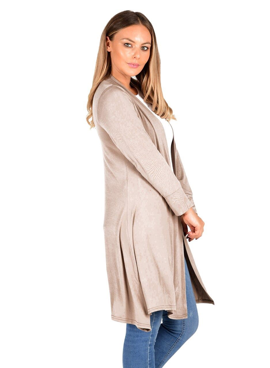 New-Womens-Open-Front-Knee-Length-Plain-Cardigan-Long-Sleeve-Party-Casual-Top miniatura 9