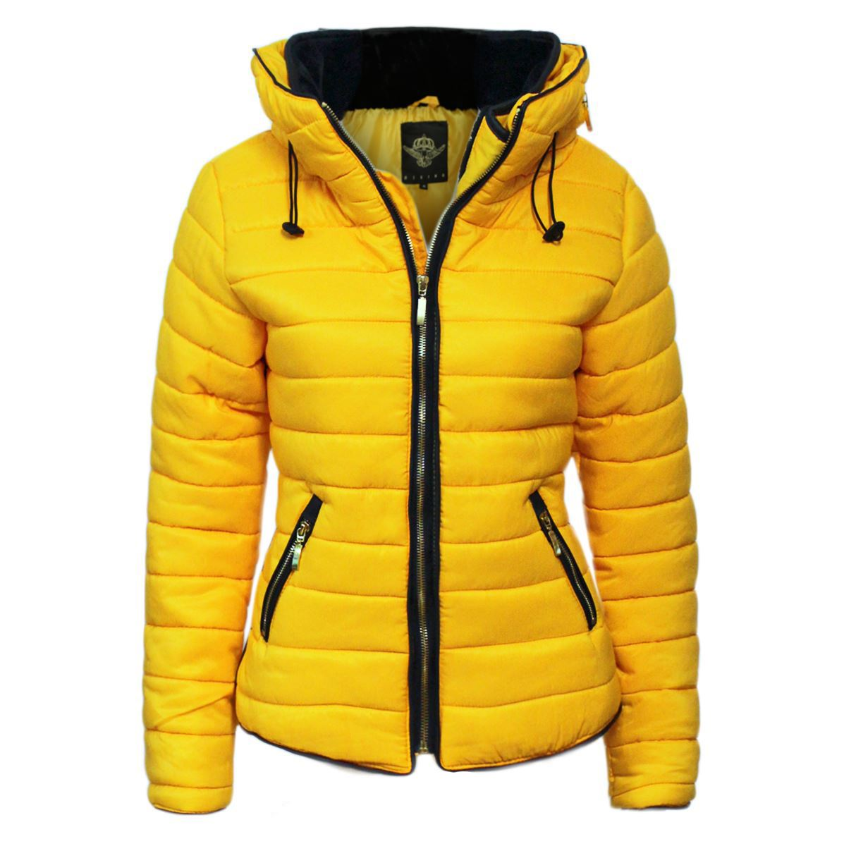 eb0bcf2ba5e New Womens Quilted Puffer Bubble Padded Jacket Fur Collar Gold ZipUp Winter  Coat | eBay