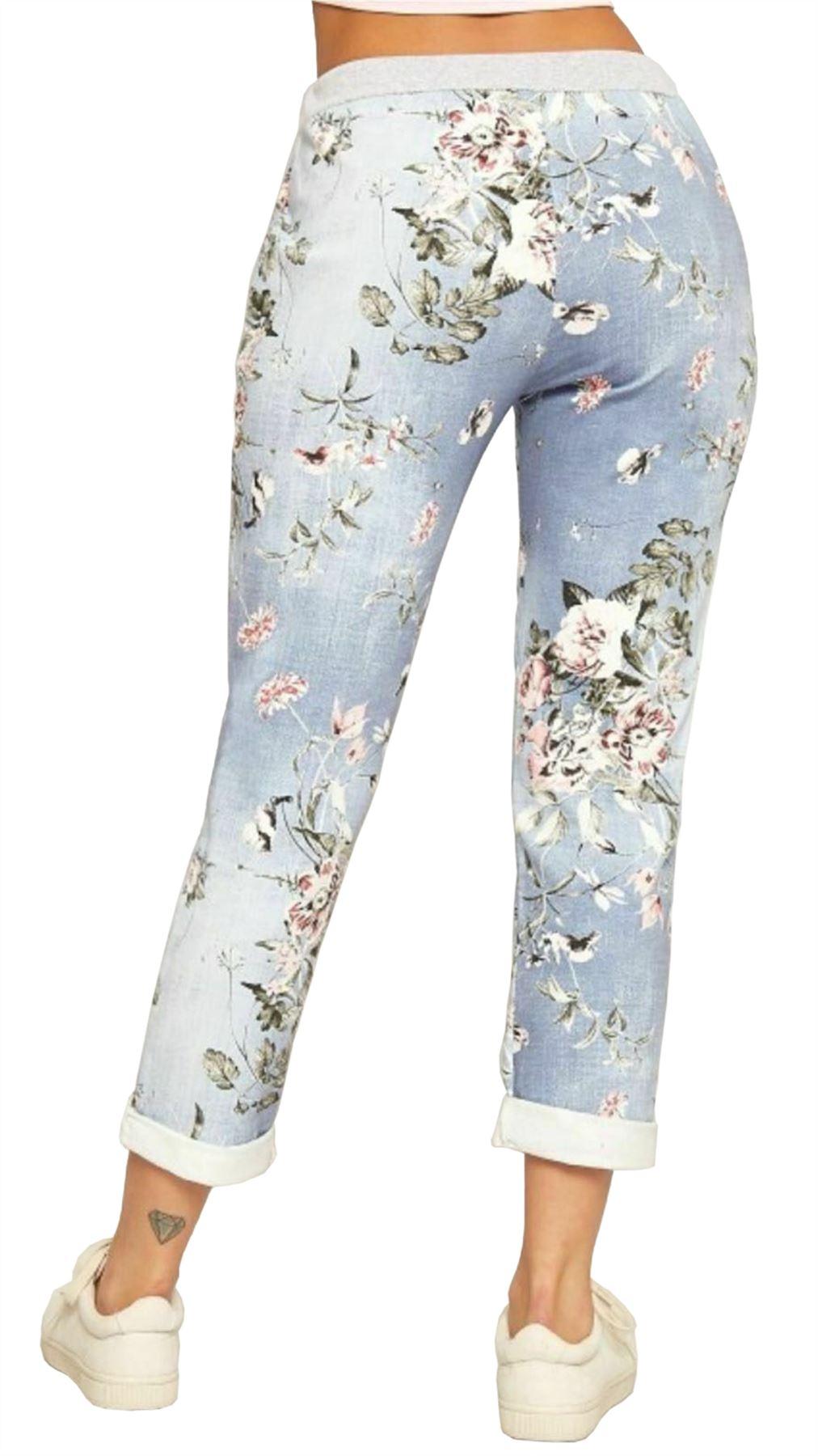 Women/'s Italian Floral Rose Printed Turn Up Trousers Ladies Summer Beach Trouser