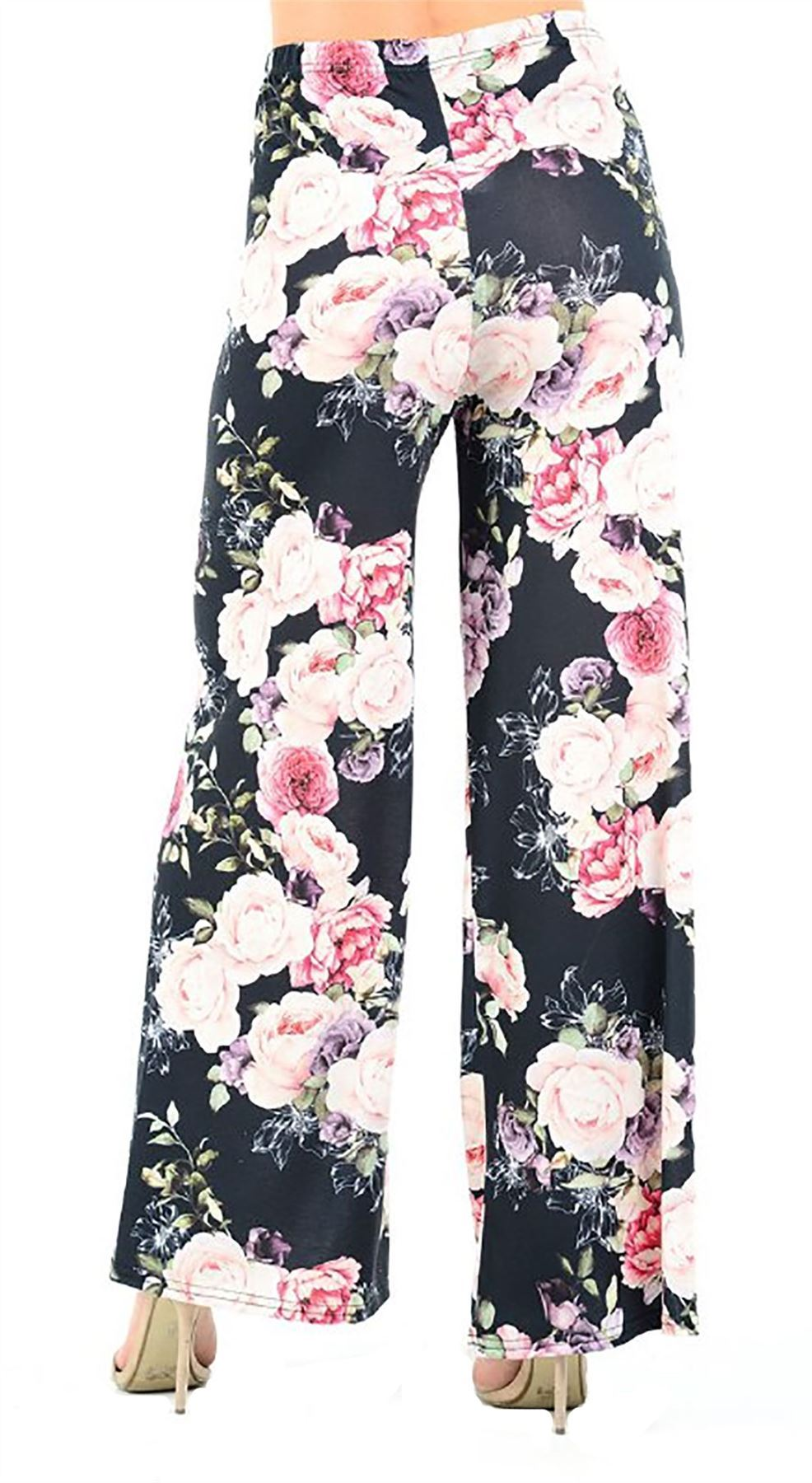 New-Ladies-Floral-Printed-Wide-Leg-Flared-Parallel-Baggy-Trousers-Pants-Palazzo thumbnail 93