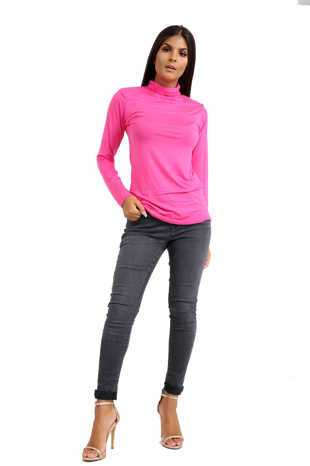 New-Ladies-Long-Sleeve-Plain-Turtle-Polo-Roll-Neck-Stretch-Jumper-T-Shirt-TeeTop thumbnail 19