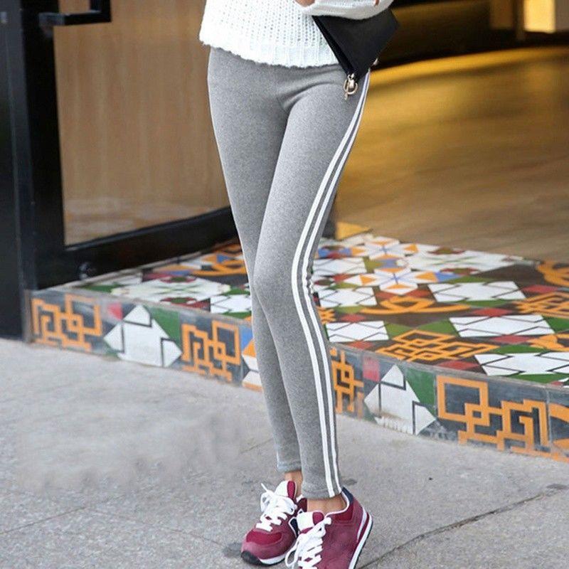 Womens-Contrast-Side-2-Stripe-Stretchy-Full-Length-Fitness-Leggings-Skinny-Pants thumbnail 12