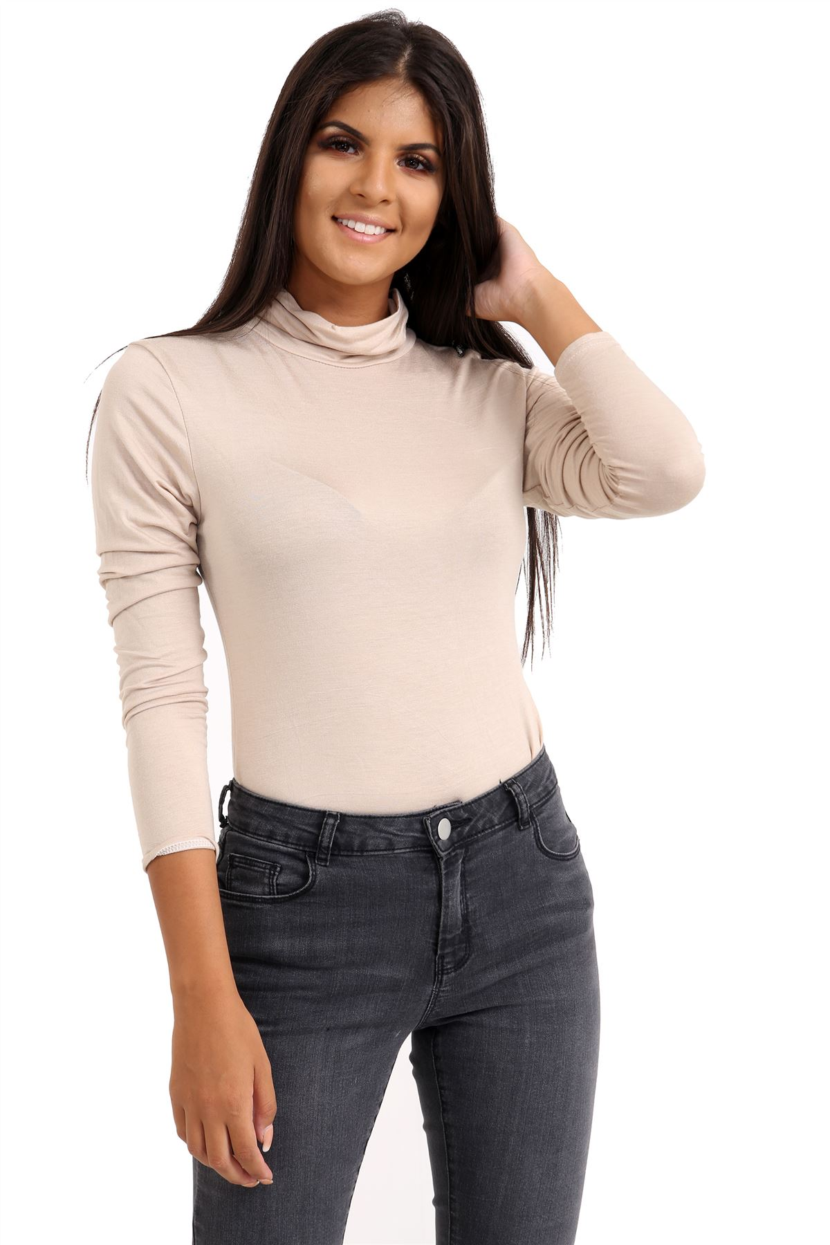 New-Ladies-Long-Sleeve-Plain-Turtle-Polo-Roll-Neck-Stretch-Jumper-T-Shirt-TeeTop thumbnail 112