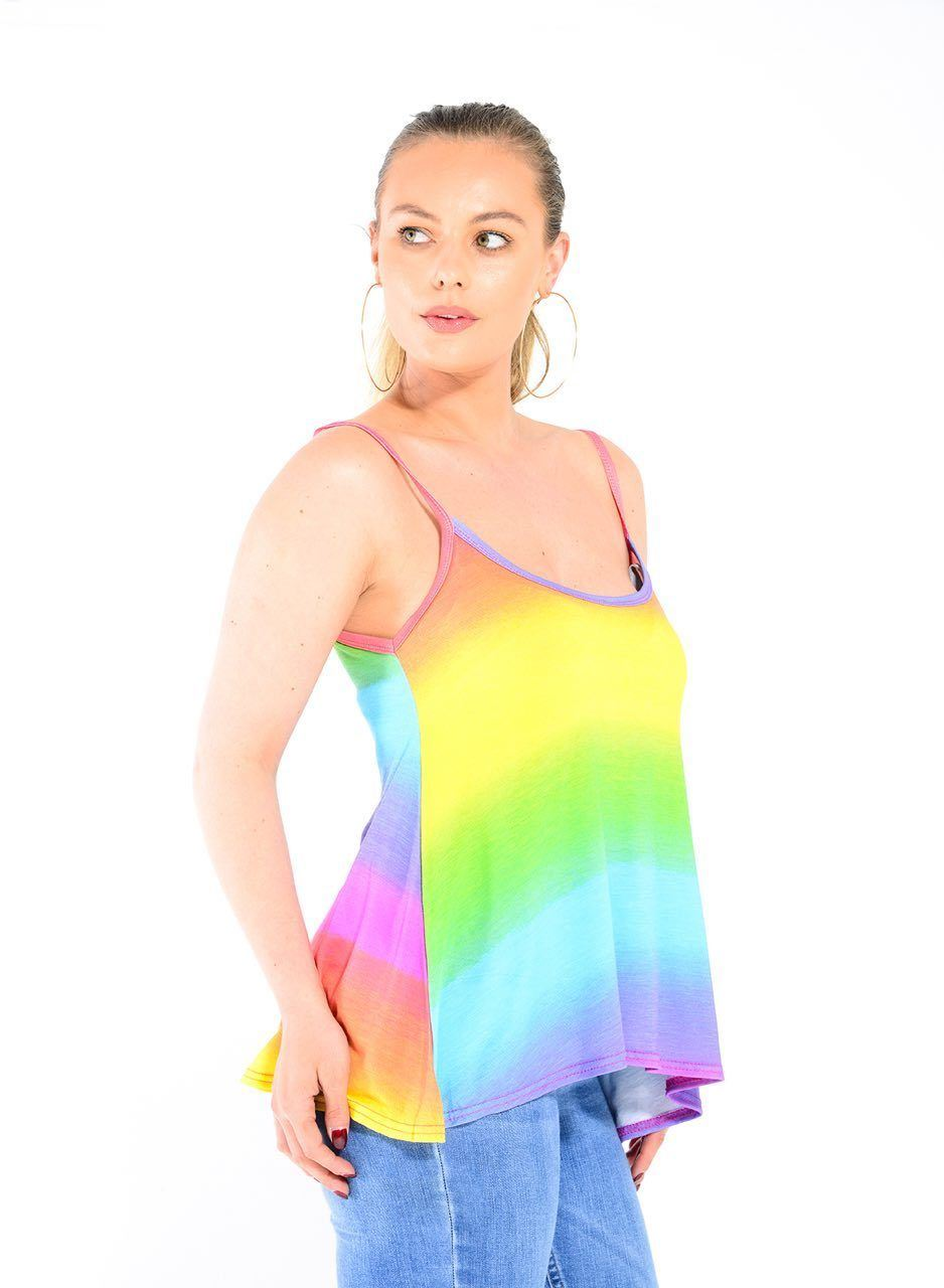 New-Ladies-Sleeveless-Camisole-Womens-Printed-Strappy-Flared-Swing-Cami-Vest-Top Indexbild 14