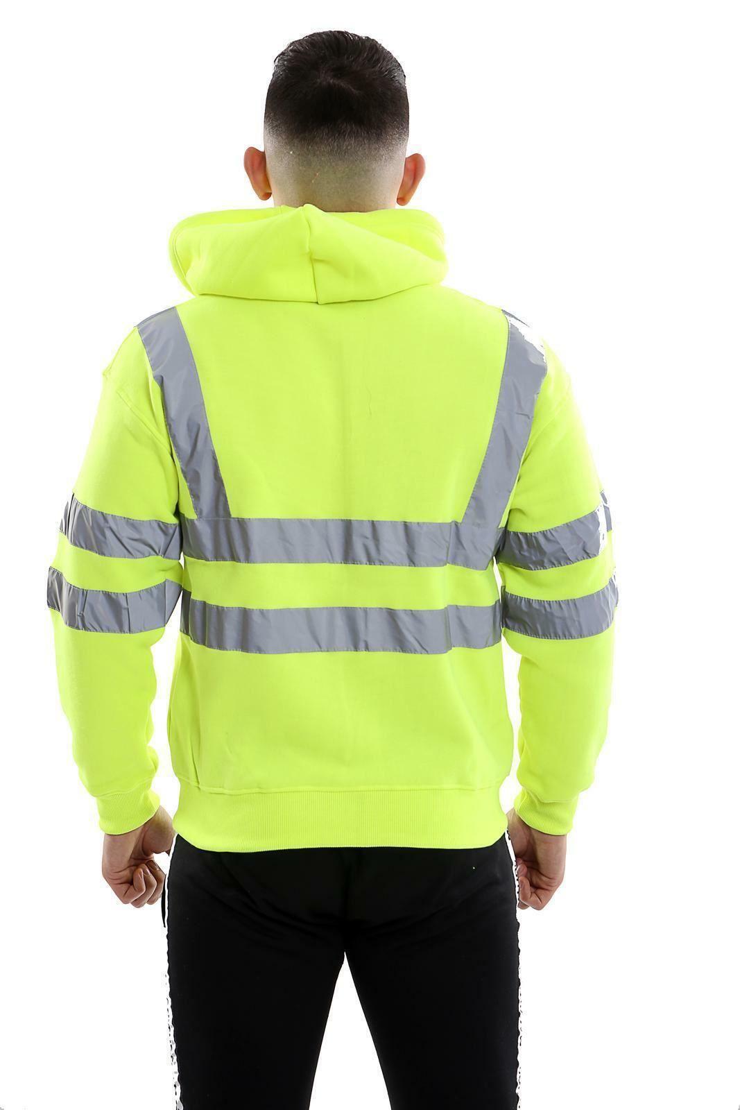 Homme 2 Tone Hi Viz visibilité Sweat à Capuche Haute Vis Reflective Workwear Pull-over à Capuche