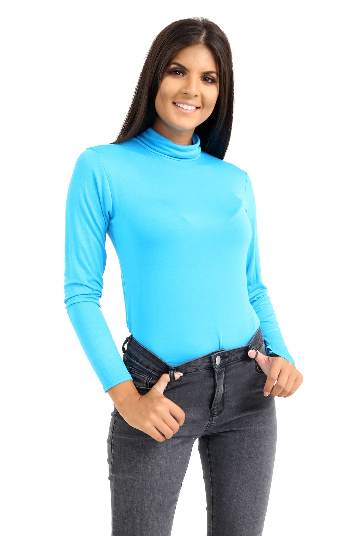 New-Ladies-Long-Sleeve-Plain-Turtle-Polo-Roll-Neck-Stretch-Jumper-T-Shirt-TeeTop thumbnail 119
