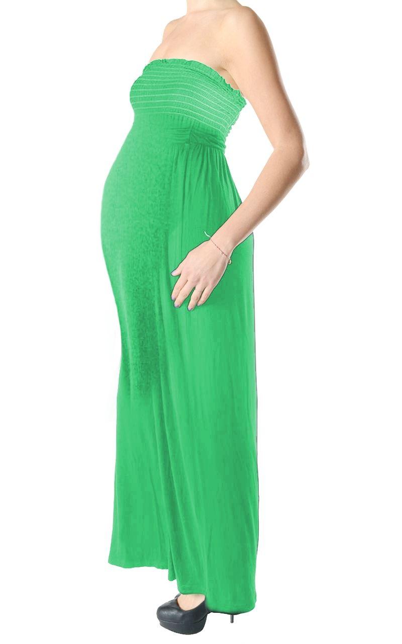 New Ladies Strapless Plain Bandeau Boobtube Maternity Gather Sheering Maxi Dress