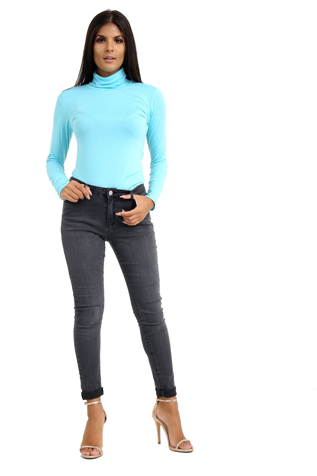 New-Ladies-Long-Sleeve-Plain-Turtle-Polo-Roll-Neck-Stretch-Jumper-T-Shirt-TeeTop thumbnail 63