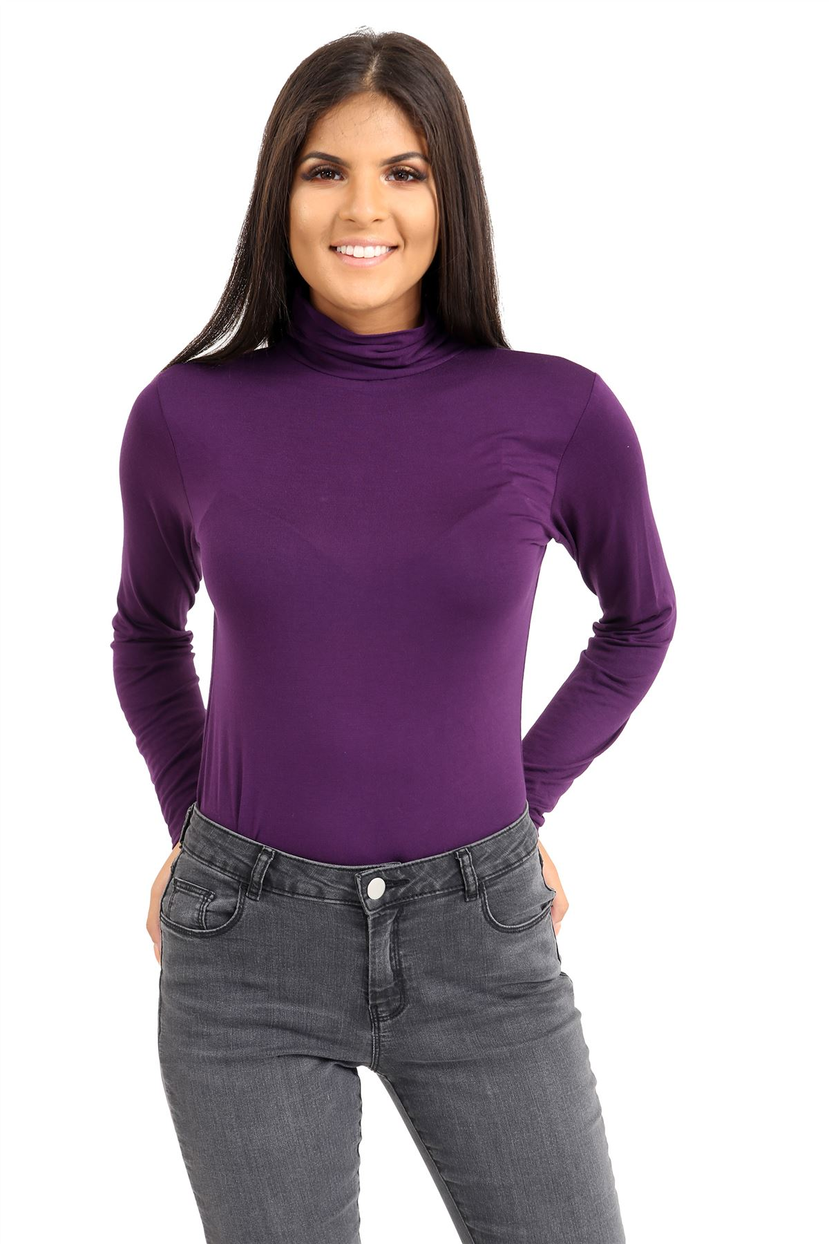 New-Ladies-Long-Sleeve-Plain-Turtle-Polo-Roll-Neck-Stretch-Jumper-T-Shirt-TeeTop thumbnail 88