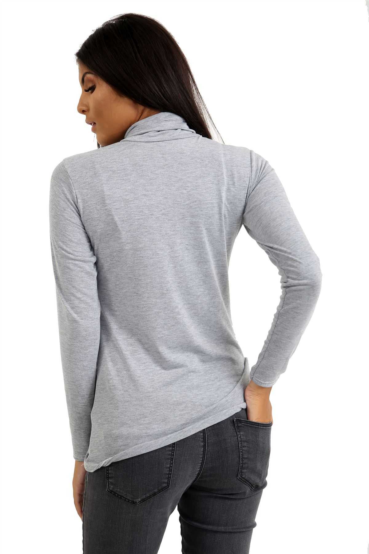 New-Ladies-Long-Sleeve-Plain-Turtle-Polo-Roll-Neck-Stretch-Jumper-T-Shirt-TeeTop thumbnail 49