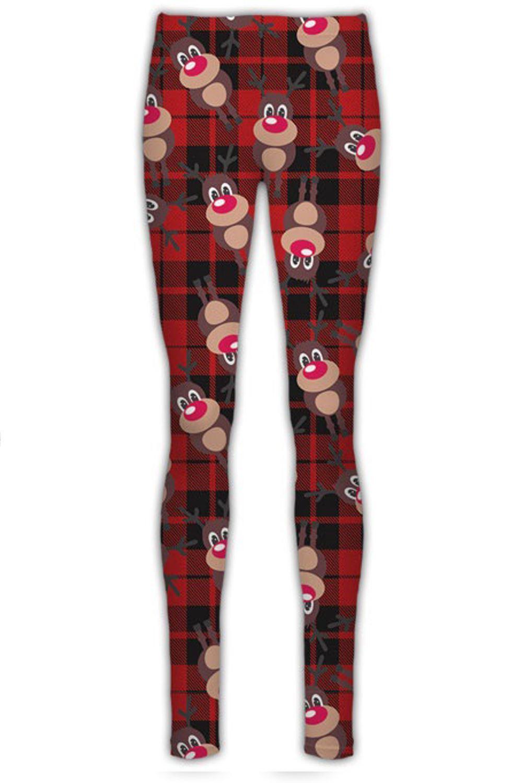 New Women Santa Reindeer Print Flare Christmas Swing Dress