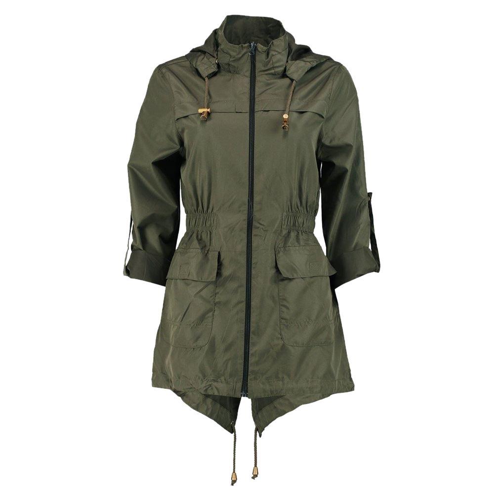 New-Womens-Plain-Fishtail-Parka-Showerproof-Raincoat-Zip- - New Womens Plain Fishtail Parka Showerproof Raincoat Zip Mac