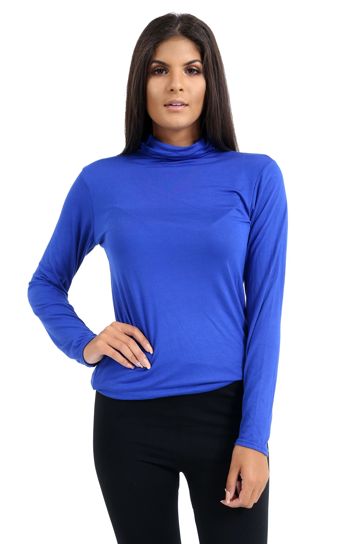 New-Ladies-Long-Sleeve-Plain-Turtle-Polo-Roll-Neck-Stretch-Jumper-T-Shirt-TeeTop thumbnail 100