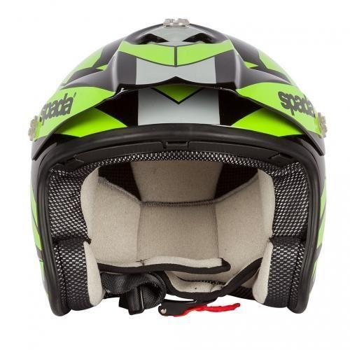 Spada-Cote-Chaser-Casque-Moto-Noir-et-Fluorescent miniature 12