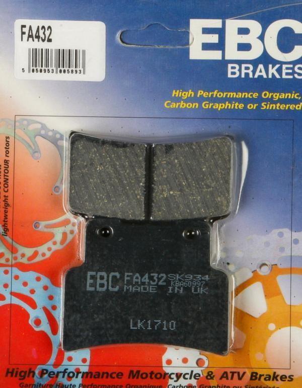 EBC ORGANIC FRONT BRAKE DISC PAD NON ABS 2014-2018 FA432 YAMAHA MT-125 ABS