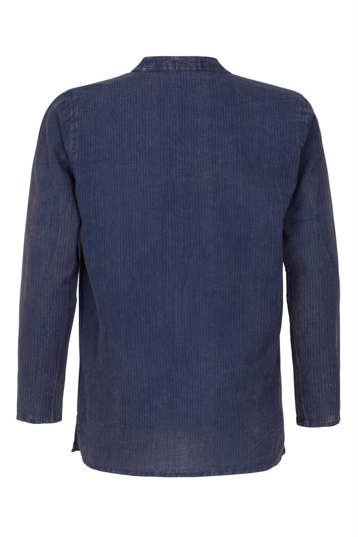 Mens Grandad Casual Shirts Mandarin Linen Blend Smart Shirt Long Sleeve Top RH07