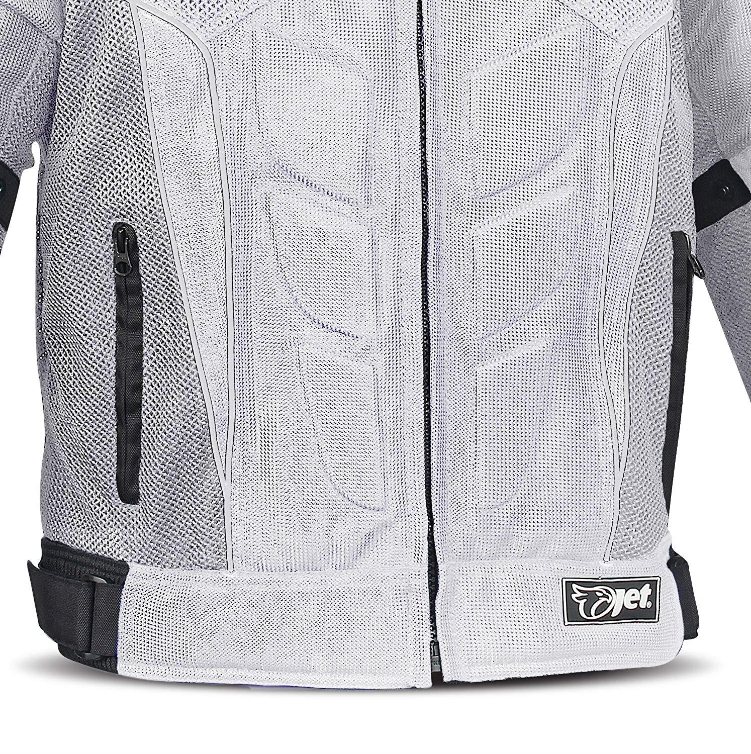 48-50 4XL JET Textile Air Mesh Motorcycle Motorbike Summer Jacket CE Armoured , Silver