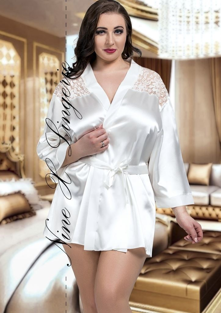 Nine X Satin Dressing Gown Plus Size Lingerie 8-26 Robe with Lace ...