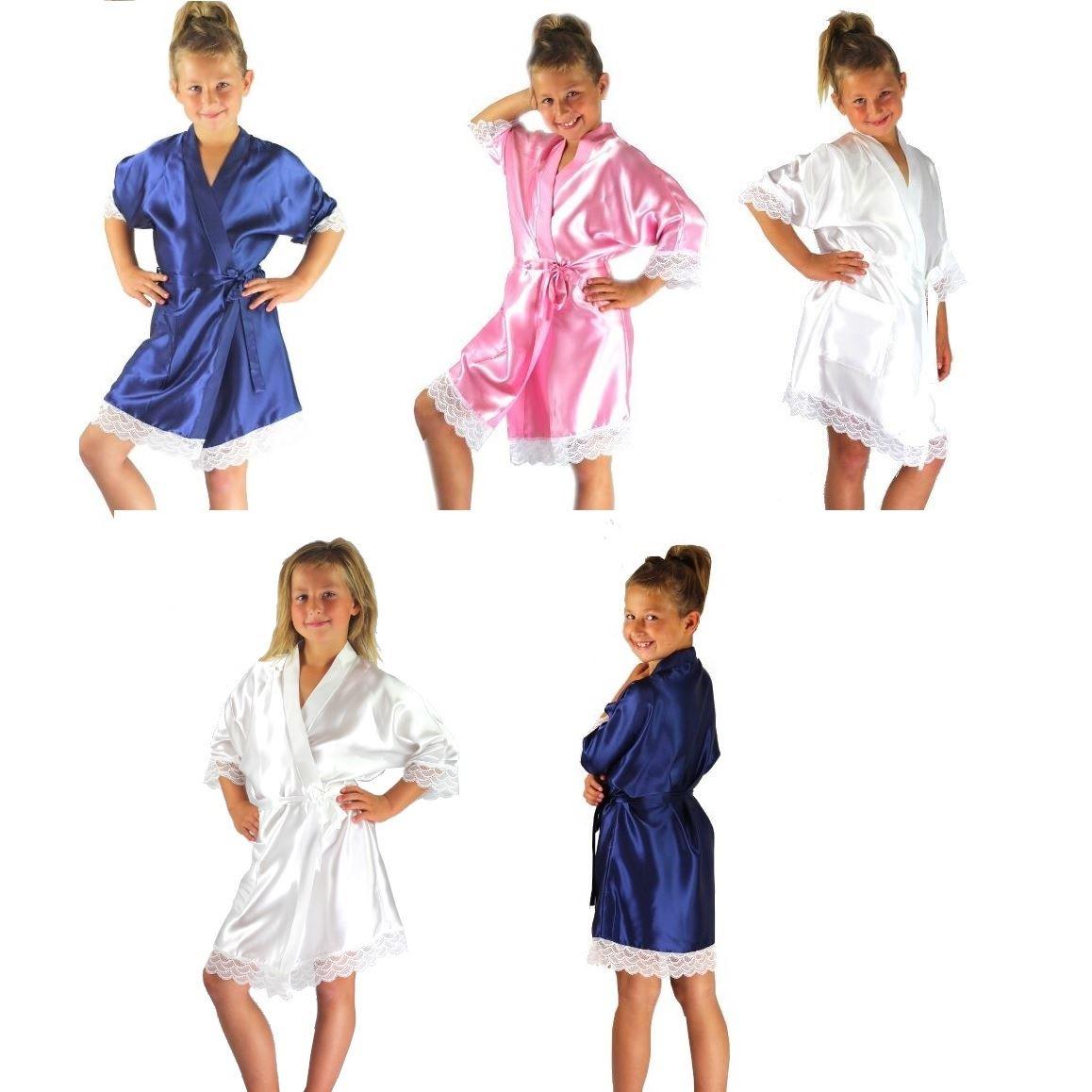 Nine X Satin Children Robe Kids Dressing Gown 2//4 5//6 7//8 9//11 12//13yrs Bride