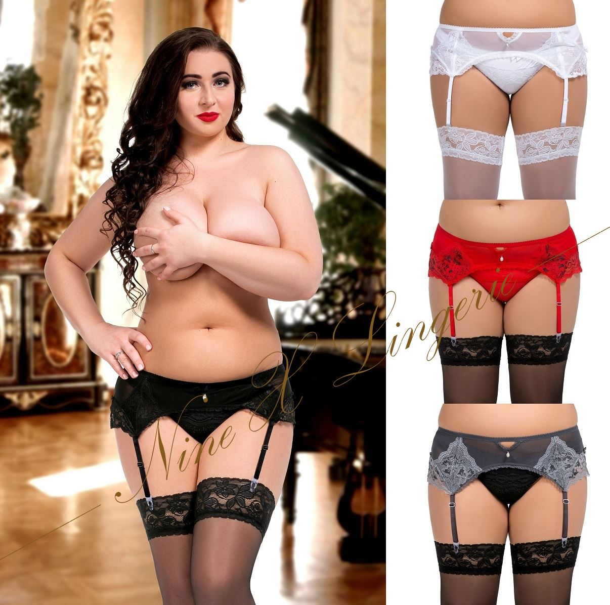 751a7e839f7 Details about Nine X Plus Size S-8XL 8-28 Sexy Lace & Mesh Garter Belt  Suspender