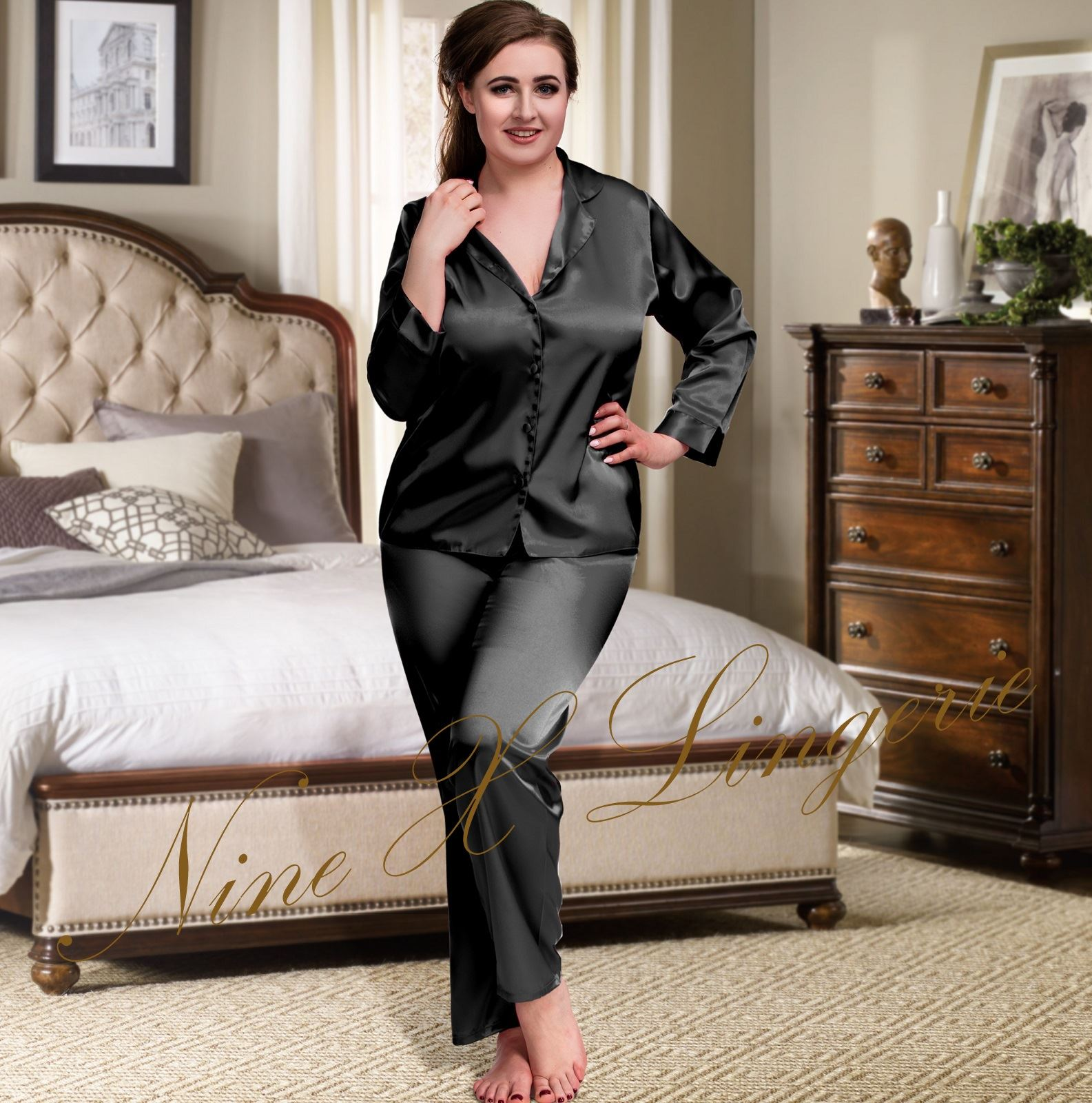Nine X NEW Ivory Plus Size Lingerie S-6XL Satin Pyjamas Nightwear Silk PJ S 8c3aac8ba